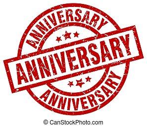 anniversary round red grunge stamp