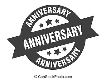 anniversary sign. anniversary black round ribbon sticker