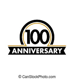 Anniversary vector unusual label. Hundredth anniversary symbol. 100 years birthday abstract logo. The arc in a circle. 100th jubilee.