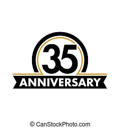 Anniversary vector unusual label. Thirty-fifth anniversary...