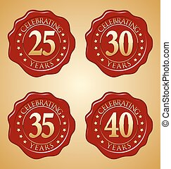 Anniversary Wax Seal 25th, 35th