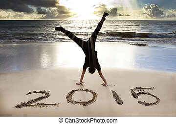 anno, 2015, nuovo, spiaggia, alba, felice