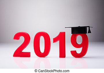anno, 2019, con, graduazione, cappello