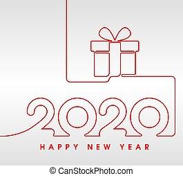anno, 2020, filo, felice, regalo, rosso, nuovo