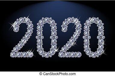anno, 2020, illutration, diamante, nuovo, vettore