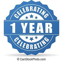 anno, anniversario, festeggiare, icona, 1