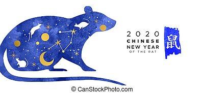 anno, bandiera, nuovo, acquarello, 2020, cinese, ratto, blu