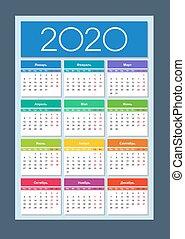 anno, calendar., 2020, colorito, language., russo