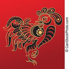 anno, cinese, horoscope., gallo
