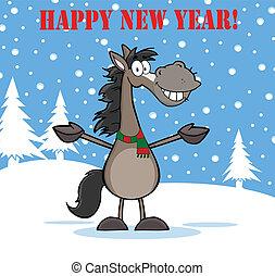 anno, felice, cavallo, grigio, nuovo