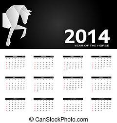 anno, illustrazione, vettore, nuovo, 2014, calendario