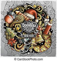 anno, illustrazione, vettore, nuovo, doodles, cartone...