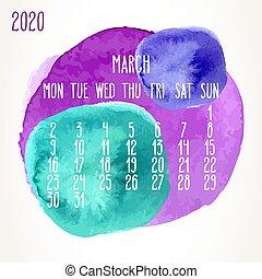 anno, marzo, acquarello, 2020, vernice, calendario, mensile