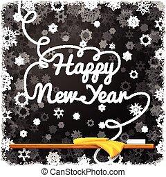 anno, nero, felice, scuola, nuovo, riccio, messaggio, lettering., lavagna, scritto