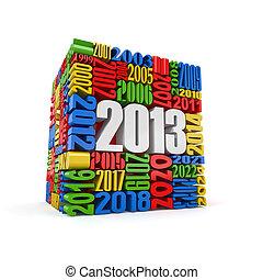anno nuovo, 2013.cube, costruito, da, numbers.