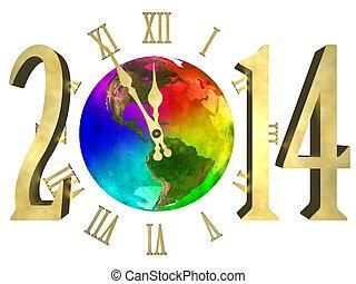 anno, -, nuovo, 2014, america, felice