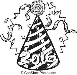 anno, nuovo, 2016, cappello, festa