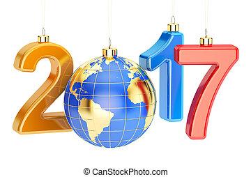 anno nuovo, 2017, concetto, 3d, interpretazione, bianco