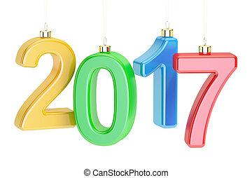anno nuovo, 2017, concetto, 3d, interpretazione