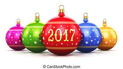anno nuovo, 2017, vacanza, concetto