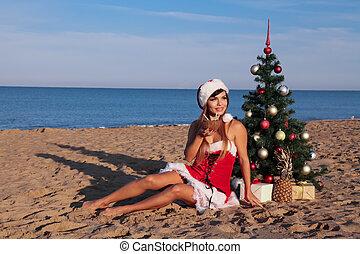 anno nuovo, 2018, albero natale, ricorso spiaggia, mare, ragazza