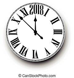 anno nuovo, 2018, clock., rotondo
