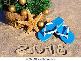 anno nuovo, 2018, su, il, spiaggia.