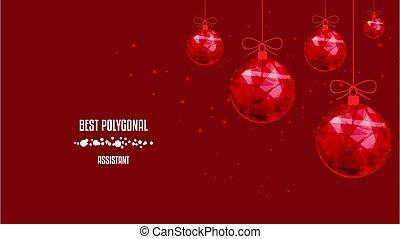 anno nuovo, bello, balls., basso, sfondo scuro, rosso, poly...