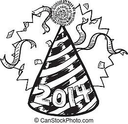 anno nuovo, cappello, festa, 2014