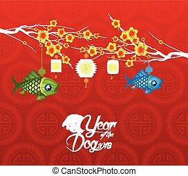 anno nuovo cinese, 2018, fiore, fondo., anno cane