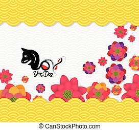 anno nuovo cinese, 2018, fiore, modello, fondo., anno cane