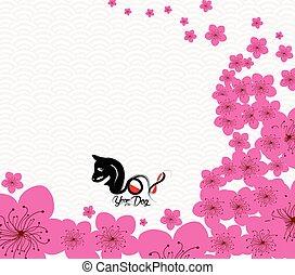 anno nuovo cinese, 2018., fiore plum, anno cane