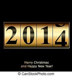 anno nuovo, contatore, in, oro, disegno