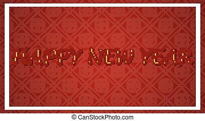 anno nuovo, felice, fondo, rosso, disegno