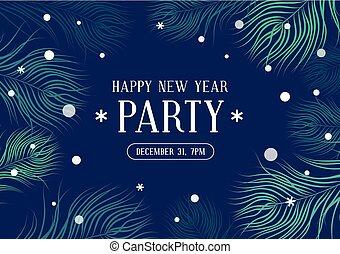 anno nuovo, festa, invito, con, abete, e, fiocchi neve