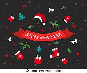 anno nuovo, festivo, fondo., vettore, illustration.