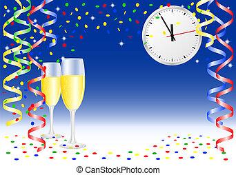 anno nuovo, fondo, festa