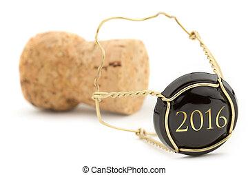 anno, nuovo, sughero champagne