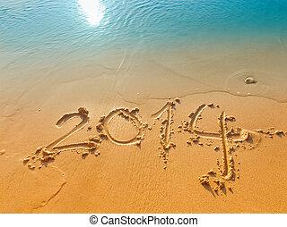 anno, scritto, sabbia, nuovo, 2014, spiaggia