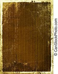 annonce, ancien, or, égratignure, fond, bordure