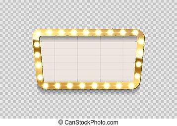 annonce, cinéma, cadre, arrière-plan., vecteur, conception, planche, vide, ampoule, transparent, element., retro