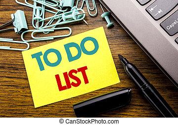 annonce, concept, business, list., bois, texte, ordinateur portable, remider, listes, note collante, écrit, papier, plan, fond, clavier, marqueur, écriture, suivant, projection
