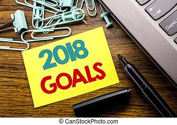 annonce, concept, goals., business, bois, texte, ordinateur portable, note collante, suivant, écrit, papier, 2018, fond, clavier, marqueur, nouveau, resolutions, yer, projection, écriture