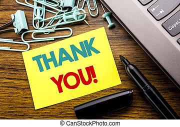 annonce, concept, remercier, business, you., bois, texte, ordinateur portable, note collante, écrit, papier, remerciement, fond, clavier, marqueur, message, suivant, projection, écriture
