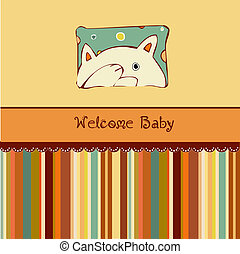annonce, naissance, carte, chat