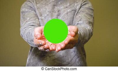 annonce, paumes, sien, bannière, ouvre, ou, chromakey, vert...