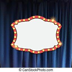 annonce, réaliste, cadre, cinéma, illustration, arrière-plan., vecteur, planche, ampoule, rideaux, retro