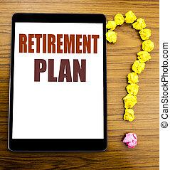 annonce, retraite, tablette, business, bois, texte, projection, écrit, concept, pension, fond, plan., écriture, bureau, table., finance