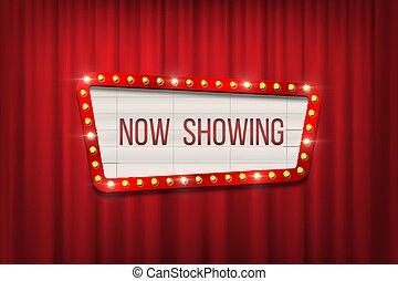 annonce, rideaux, cadre, cinéma, arrière-plan., vecteur, planche, ampoule, rouges, retro