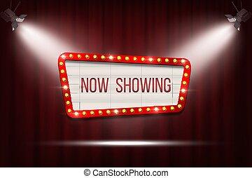 annonce, rideaux, tache, cadre, cinéma, lights., vecteur, planche, fond, ampoule, rouges, retro